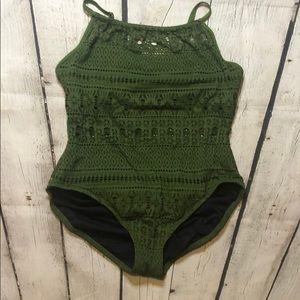 Aqua Green Swimsuit size XL army green net design